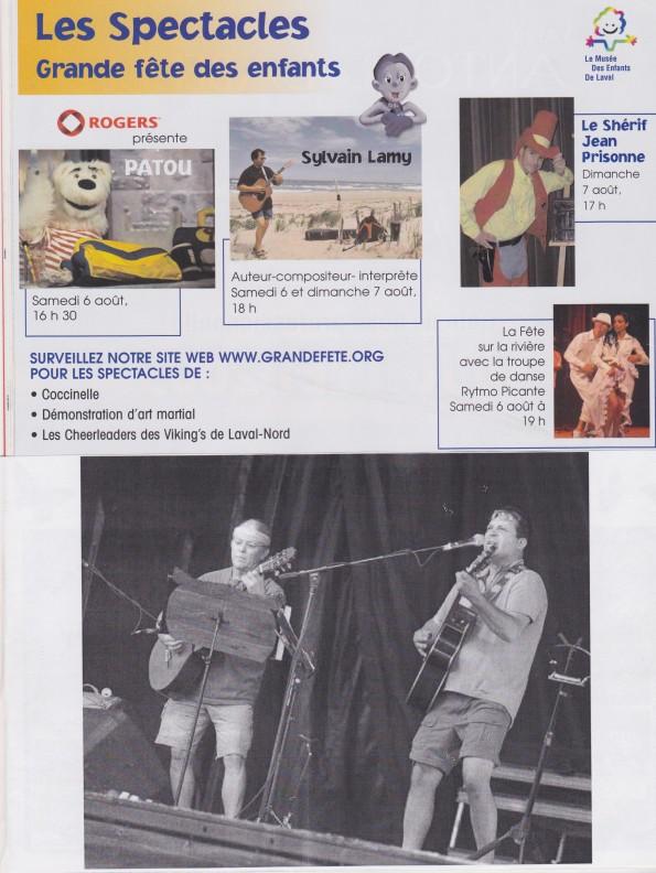 Sylvain Lamy Gr.Fëte des enfantsSpectacle presse 2005